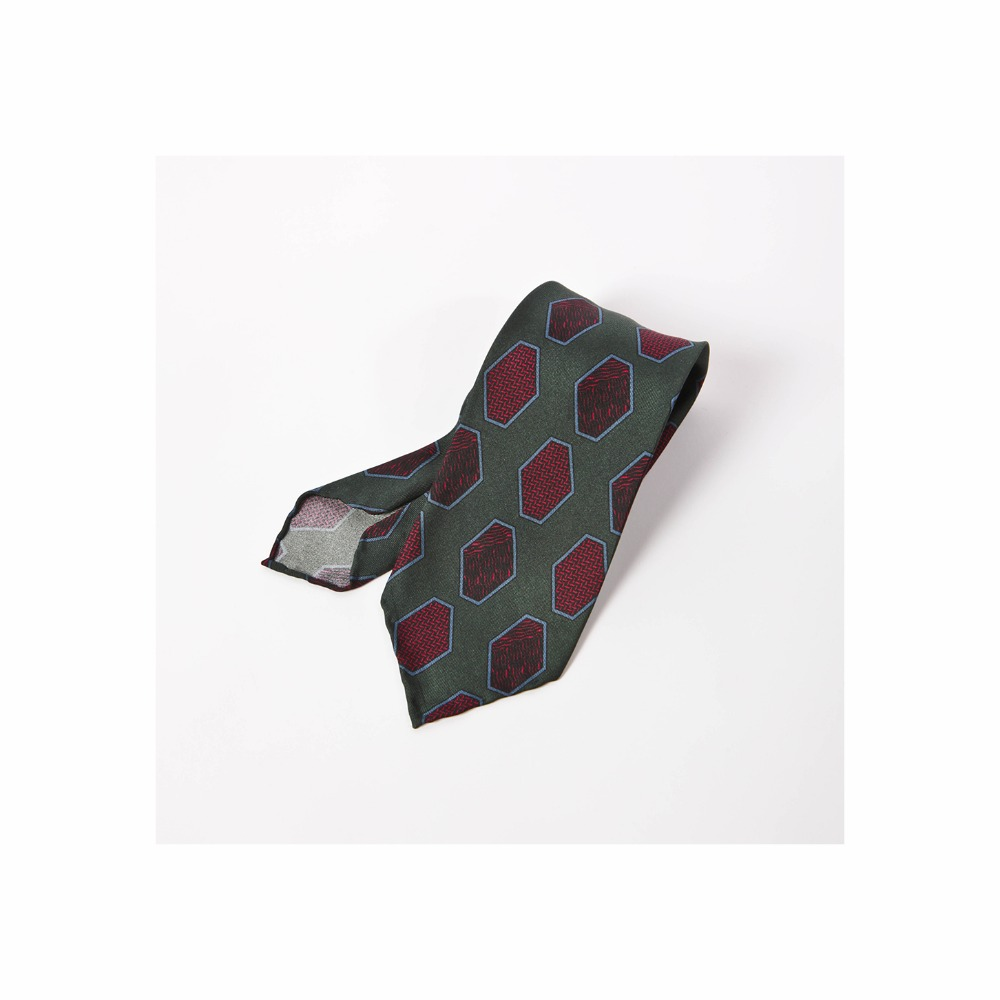 B&TAILOR Unlining 6Fold Tie  Green-Burgundy Hexagon