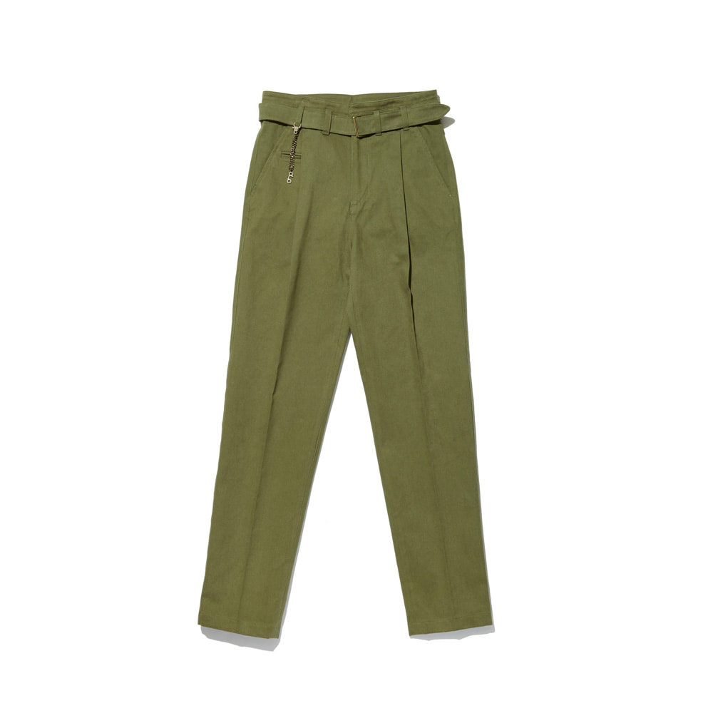 Cotton Trousers 'VENT' Olive Green