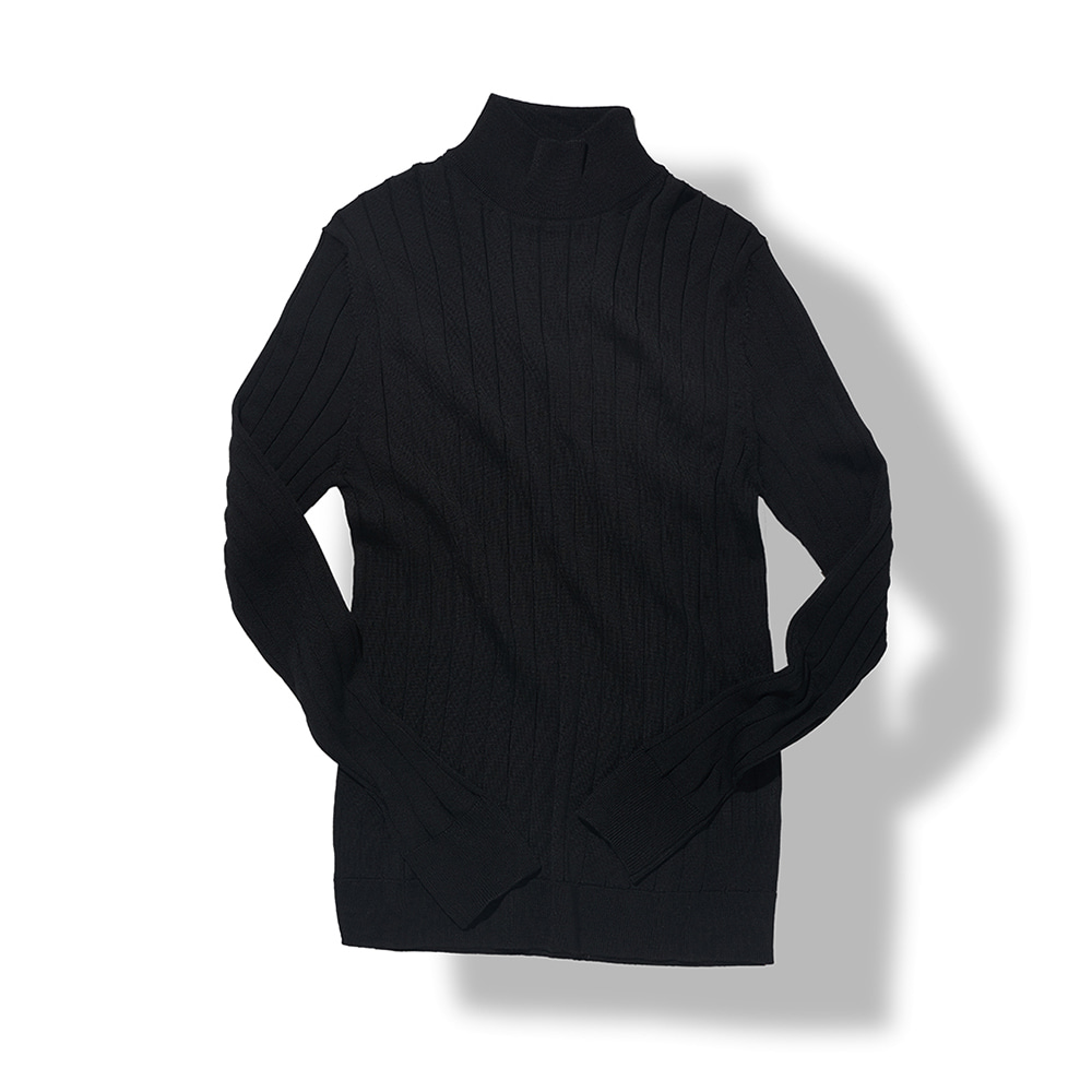 Ribbed Turtleneck - Black